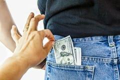 Αμερικανικά δολάρια στην πίσω τσέπη Στοκ φωτογραφίες με δικαίωμα ελεύθερης χρήσης
