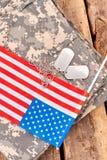 Αμερικανικά πατριωτικά προϊόντα πρώτης ανάγκης και εξαρτήματα Στοκ Φωτογραφίες