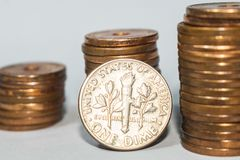 Αμερικανικά 10 σεντ, ΗΠΑ μια δεκάρα στοκ εικόνα