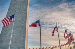 Αμερικανικές σημαίες που περιβάλλουν το μνημείο της Ουάσιγκτον στο ηλιοβασίλεμα Στοκ εικόνες με δικαίωμα ελεύθερης χρήσης
