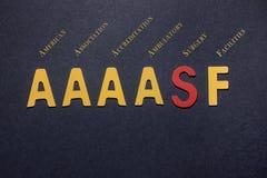 Αμερικανική ένωση συντμήσεων AAAASF για την πιστοποίηση του AM Στοκ Φωτογραφία