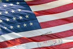 Αμερικανική αμερικανική σημαία με το γραμματόσημο διαβατηρίων θεωρήσεων Στοκ εικόνες με δικαίωμα ελεύθερης χρήσης