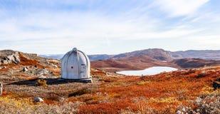 Αμερικανική αποθήκη μετάλλων και greenlandic πορτοκαλί tundra φθινοπώρου τοπίο W στοκ εικόνα