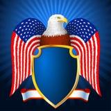 Αμερικανική ασπίδα φτερών σημαιών αετών Στοκ Εικόνες