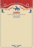 Αμερικανική αφίσα ροντέο κάουμποϋ Διανυσματικό δυτικό υπόβαθρο εγγράφου για ελεύθερη απεικόνιση δικαιώματος
