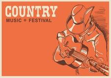 Αμερικανική αφίσα φεστιβάλ country μουσικής με το gui παιχνιδιού μουσικών διανυσματική απεικόνιση