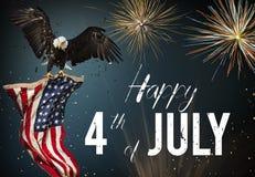 Αμερικανική γιορτή 4η του Ιουλίου american bald eagle flag Ελεύθερη απεικόνιση δικαιώματος