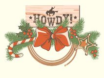 Αμερικανική διακόσμηση Χριστουγέννων για το δυτικό υπόβαθρο κάουμποϋ ή το δ απεικόνιση αποθεμάτων