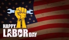 Αμερικανική διανυσματική ετικέτα Εργατικής Ημέρας ή οριζόντιο υπόβαθρο διανυσματική ευτυχής αφίσα Εργατικής Ημέρας ή οριζόντιο έμ Στοκ Εικόνα