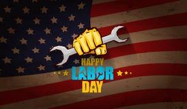 Αμερικανική διανυσματική ετικέτα Εργατικής Ημέρας ή οριζόντιο υπόβαθρο διανυσματική ευτυχής αφίσα Εργατικής Ημέρας ή οριζόντιο έμ Στοκ φωτογραφίες με δικαίωμα ελεύθερης χρήσης