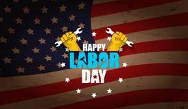 Αμερικανική διανυσματική ετικέτα Εργατικής Ημέρας ή οριζόντιο υπόβαθρο διανυσματική ευτυχής αφίσα Εργατικής Ημέρας ή οριζόντιο έμ Στοκ Εικόνες