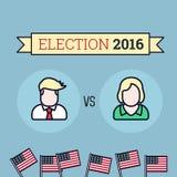 Αμερικανική εκλογή 2016 Δύο υποψήφιοι Επίπεδη απεικόνιση ύφους απεικόνιση αποθεμάτων