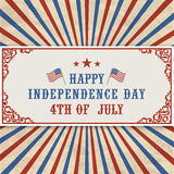 Αμερικανική επιγραφή ημέρας της ανεξαρτησίας Στοκ Φωτογραφία