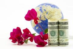 Αμερικανική επιχειρησιακή επιτυχία στην παγκόσμια αγορά που βλέπει σε δολάρια, glob Στοκ φωτογραφία με δικαίωμα ελεύθερης χρήσης