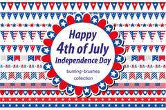 Αμερικανική ημέρα της ανεξαρτησίας, εορτασμός στις ΗΠΑ Καθορισμένα σύνορα, ύφασμα, σημαίες, γιρλάντα διακοσμητικά στοιχεία σ& διανυσματική απεικόνιση
