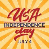 Αμερικανική ημέρα της ανεξαρτησίας, στις 4 Ιουλίου - γραφή, καλλιγραφία, τυπογραφία, εγγραφή ελεύθερη απεικόνιση δικαιώματος