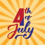 Αμερικανική ημέρα της ανεξαρτησίας, στις 4 Ιουλίου - γραφή, καλλιγραφία, τυπογραφία, εγγραφή διανυσματική απεικόνιση