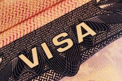 Αμερικανική θεώρηση σε ένα διαβατήριο στοκ φωτογραφία