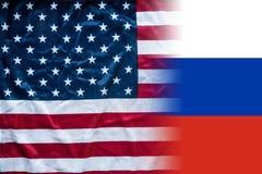 Αμερικανική και ρωσική σημαία που συνδυάζεται Στοκ εικόνα με δικαίωμα ελεύθερης χρήσης