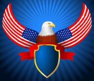 Αμερικανική κορδέλλα ασπίδων φτερών σημαιών αετών Στοκ Φωτογραφία