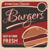 Αμερικανική κλασική αφίσα Burgers Στοκ φωτογραφίες με δικαίωμα ελεύθερης χρήσης