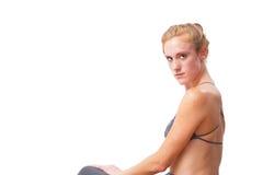 Αμερικανική ξανθή θηλυκή επίλυση Στοκ Φωτογραφία