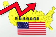 Αμερικανική οικονομική αποκατάσταση στην έννοια στοκ εικόνα