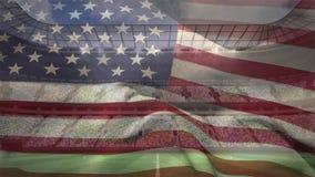 Αμερικανική σημαία ενάντια στο πλήρες στάδιο την ηλιόλουστη ημέρα φιλμ μικρού μήκους