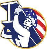 Αμερικανική σημαία ι-ακτίνων εργαζομένων χάλυβα κατασκευής απεικόνιση αποθεμάτων