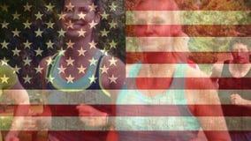 Αμερικανική σημαία και μαραθώνιος απόθεμα βίντεο