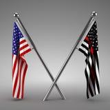 Αμερικανική σημαία και σημαία πυροσβεστών Στοκ Φωτογραφίες