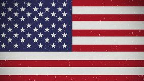 Αμερικανική σημαία με το χιόνι απόθεμα βίντεο