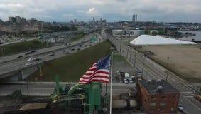 Αμερικανική σημαία στην πρόνοια απόθεμα βίντεο