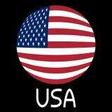 Αμερικανική σημαία στο έντυπο και τη λέξη ΗΠΑ σφαιρών Στοκ Φωτογραφία