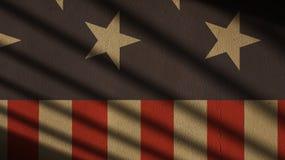 Αμερικανική σημαία στο σκυρόδεμα με τη σκιά πυλών αστέρια Στοκ Εικόνα