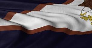 Αμερικανική σημαία της Σαμόα που κυματίζει στον ασθενή άνεμο Στοκ Φωτογραφίες