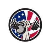 Αμερικανική σημαία Barbell Kettlebell ΗΠΑ χεριών Στοκ φωτογραφίες με δικαίωμα ελεύθερης χρήσης