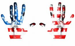 αμερικανική σημαία handprints Στοκ εικόνα με δικαίωμα ελεύθερης χρήσης