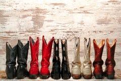 Αμερικανική δυτική γραμμή μποτών Cowgirl δυτικού ροντέο Στοκ Φωτογραφίες