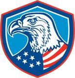 Αμερικανική φαλακρή επικεφαλής ασπίδα αετών αναδρομική Στοκ Εικόνες