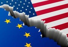 ΑΜΕΡΙΚΑΝΙΚΗ Ευρώπη ρωγμή σημαιών απεικόνιση αποθεμάτων