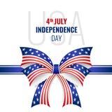ΑΜΕΡΙΚΑΝΙΚΗ ημέρα της ανεξαρτησίας με το διανυσματικό σχέδιο σύστασης αμερικανικών σημαιών τόξων κορδελλών Στοκ Φωτογραφία