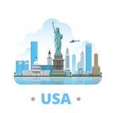 ΑΜΕΡΙΚΑΝΙΚΗ Ηνωμένες Πολιτείες χώρα επίπεδο styl κινούμενων σχεδίων σχεδίου ελεύθερη απεικόνιση δικαιώματος
