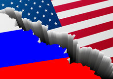 ΑΜΕΡΙΚΑΝΙΚΗ Ρωσία ρωγμή σημαιών διανυσματική απεικόνιση