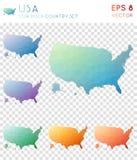 ΑΜΕΡΙΚΑΝΙΚΟΙ γεωμετρικοί polygonal χάρτες, ύφος μωσαϊκών ελεύθερη απεικόνιση δικαιώματος