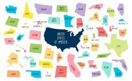 ΑΜΕΡΙΚΑΝΙΚΟΣ χάρτης με τα χωρισμένα κράτη ελεύθερη απεικόνιση δικαιώματος