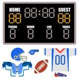 Αμερικανικού ποδοσφαίρου παικτών ομοιόμορφος αθλητικών παιχνιδιών εικονιδίων διανυσματικός κινούμενων σχεδίων ύφους αμερικανικός  απεικόνιση αποθεμάτων