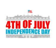 ΑΜΕΡΙΚΑΝΙΚΟ έμβλημα ημέρας της ανεξαρτησίας λευκό σπιτιών Πατριωτικό holi της Αμερικής διανυσματική απεικόνιση