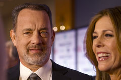 Αμερικανικός δράστης Tom Hanks και η σύζυγός του Ρίτα Wilson Στοκ Εικόνες