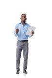 Αμερικανικός επιχειρηματίας Afro που κραυγάζει με την ευτυχία Στοκ Φωτογραφία